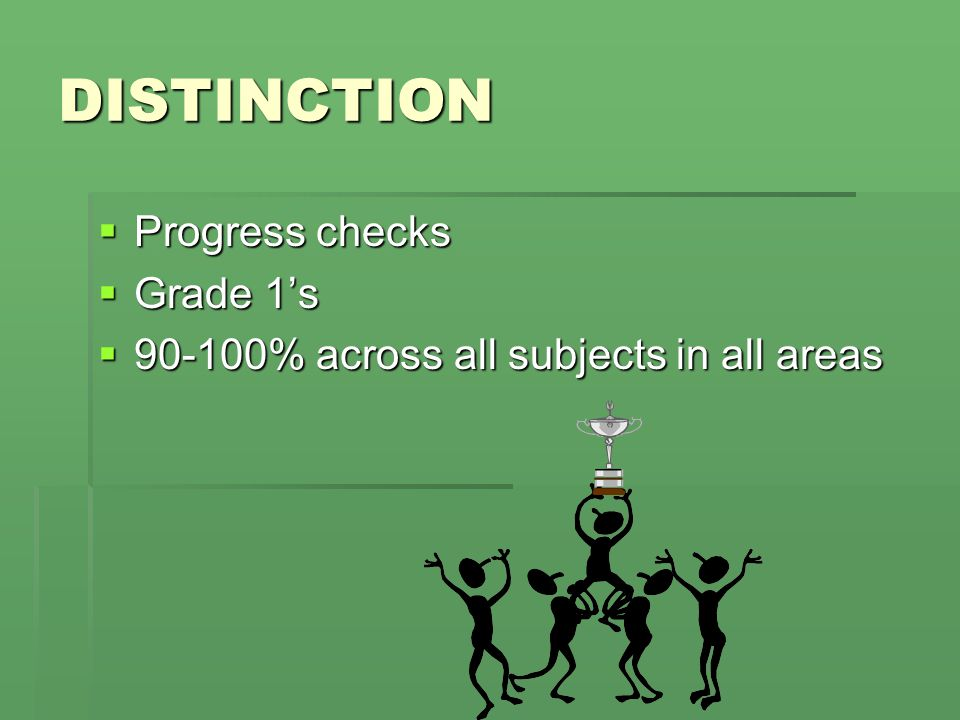 DISTINCTION  Progress checks  Grade 1's  90-100% across all subjects in all areas