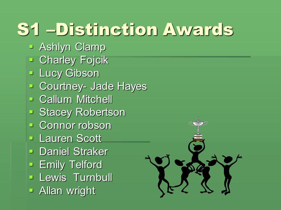 S1 –Distinction Awards  Ashlyn Clamp  Charley Fojcik  Lucy Gibson  Courtney- Jade Hayes  Callum Mitchell  Stacey Robertson  Connor robson  Lau