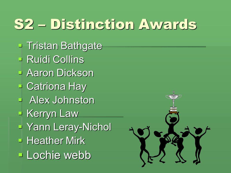 S2 – Distinction Awards  Tristan Bathgate  Ruidi Collins  Aaron Dickson  Catriona Hay  Alex Johnston  Kerryn Law  Yann Leray-Nichol  Heather M