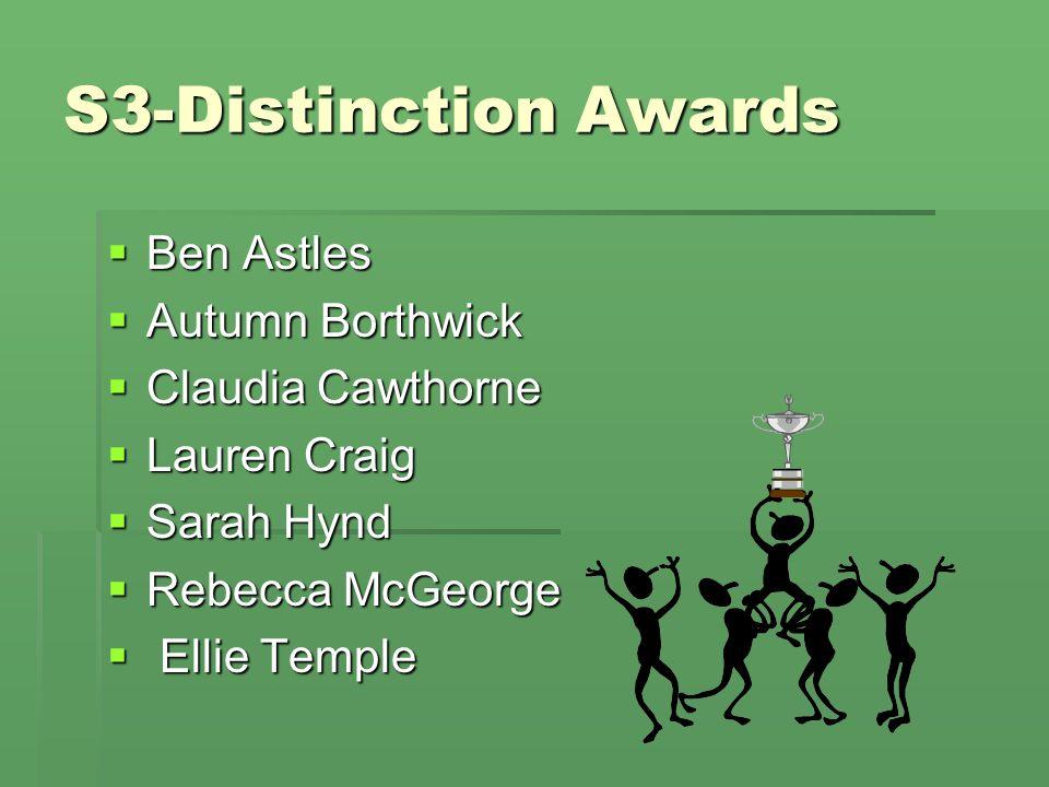 S3-Distinction Awards  Ben Astles  Autumn Borthwick  Claudia Cawthorne  Lauren Craig  Sarah Hynd  Rebecca McGeorge  Ellie Temple