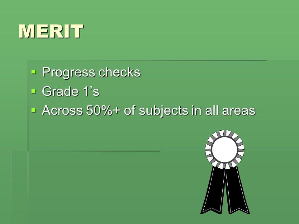 MERIT  Progress checks  Grade 1's  Across 50%+ of subjects in all areas