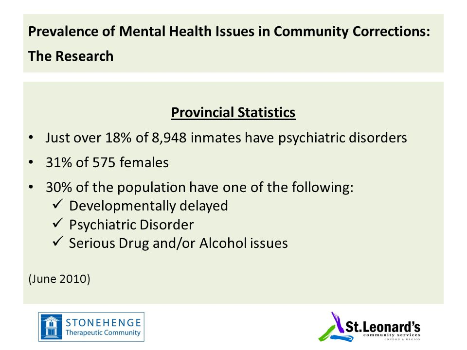 Prevalence of Mental Health Issues in Community Corrections: The Research Towards an Integrated Network 2008 Community Connections 2010 Sample solutions/promising practices Wrap-around Strong relations with provincial health agencies Recovery model