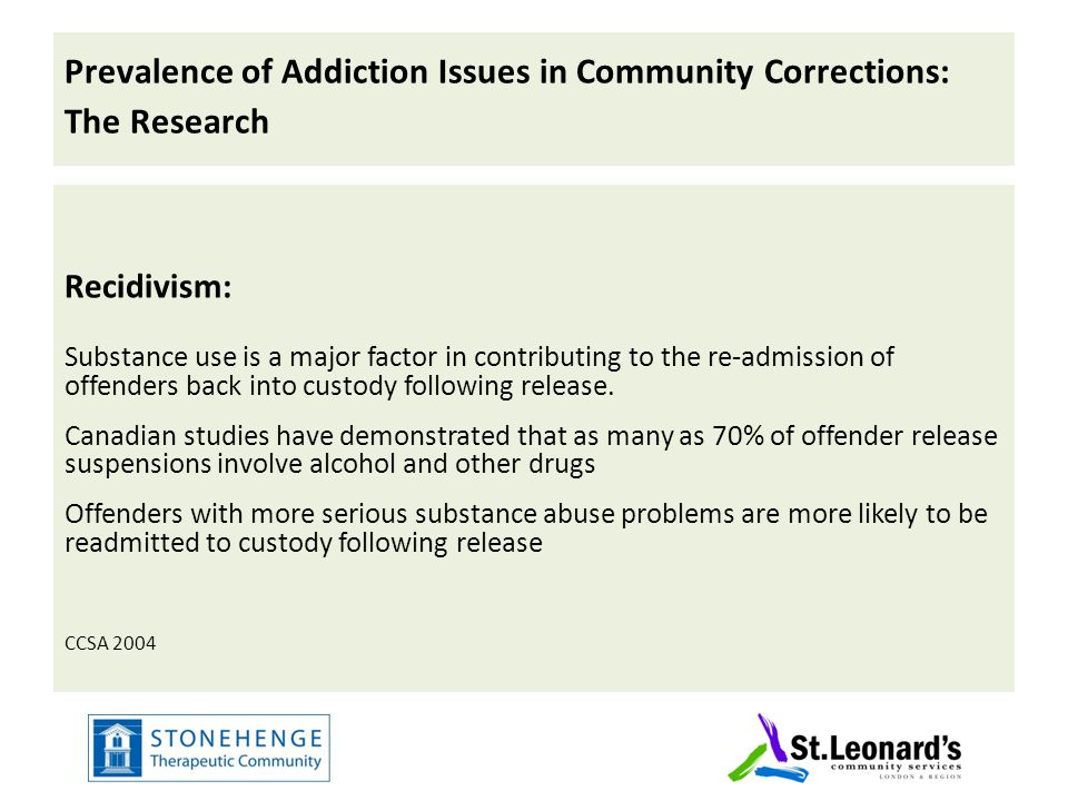 Prevalence of Addiction Issues in Community Corrections: The Research Recidivism: Substance use is a major factor in contributing to the re-admission