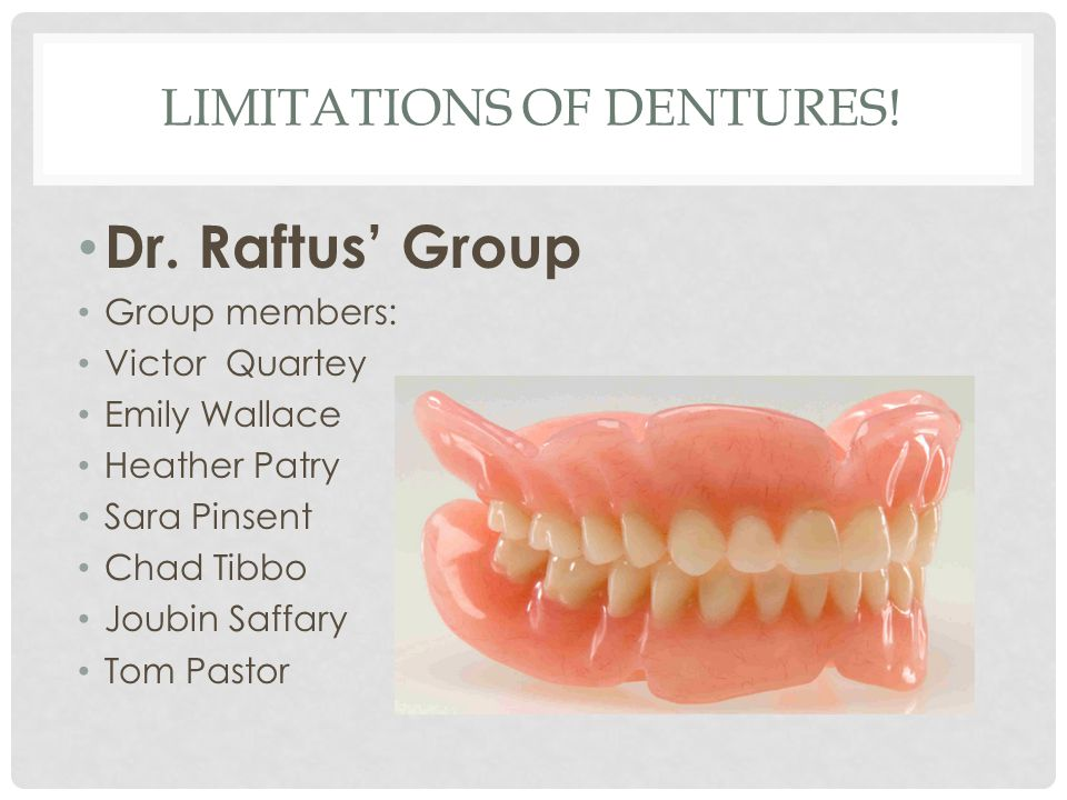 LIMITATIONS OF DENTURES! Dr. Raftus' Group Group members: Victor Quartey Emily Wallace Heather Patry Sara Pinsent Chad Tibbo Joubin Saffary Tom Pastor