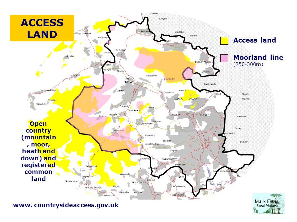 ACCESS LAND Access land Moorland line (250-300m) www.