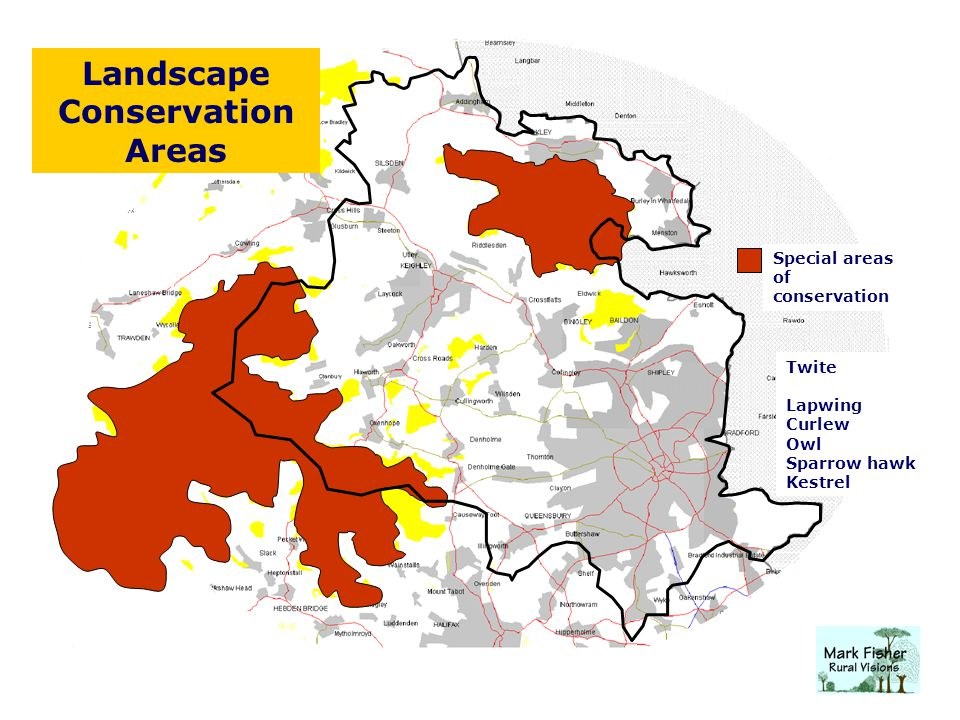 Landscape Conservation Areas Special areas of conservation Twite Lapwing Curlew Owl Sparrow hawk Kestrel