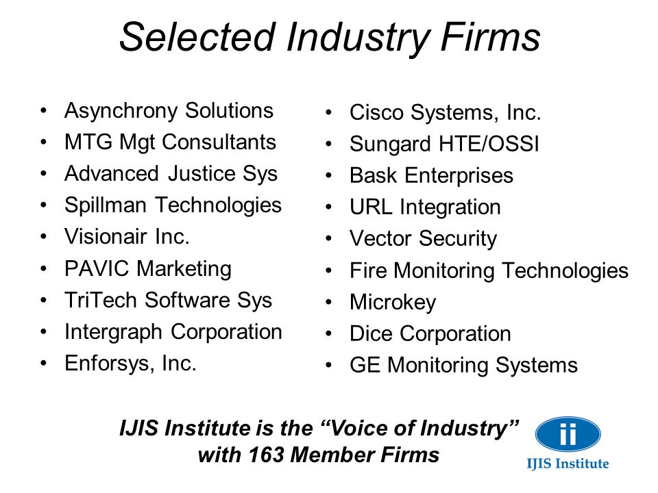 Selected Industry Firms Asynchrony Solutions MTG Mgt Consultants Advanced Justice Sys Spillman Technologies Visionair Inc. PAVIC Marketing TriTech Sof