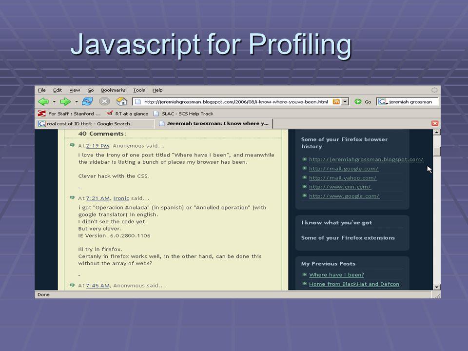 Javascript for Profiling