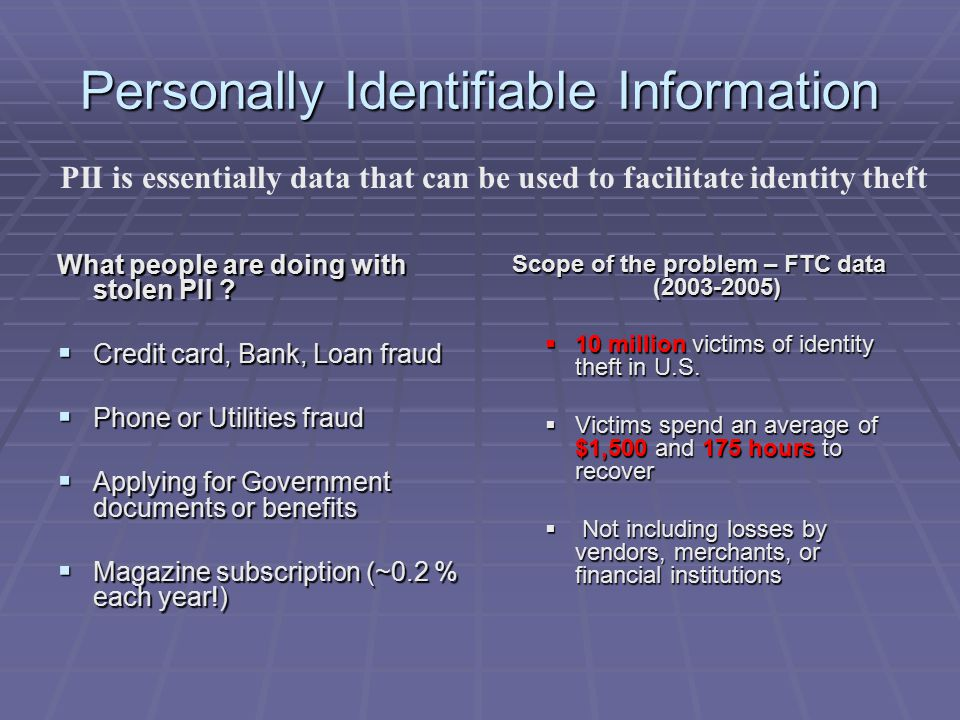 Personally Identifiable Information What people are doing with stolen PII .