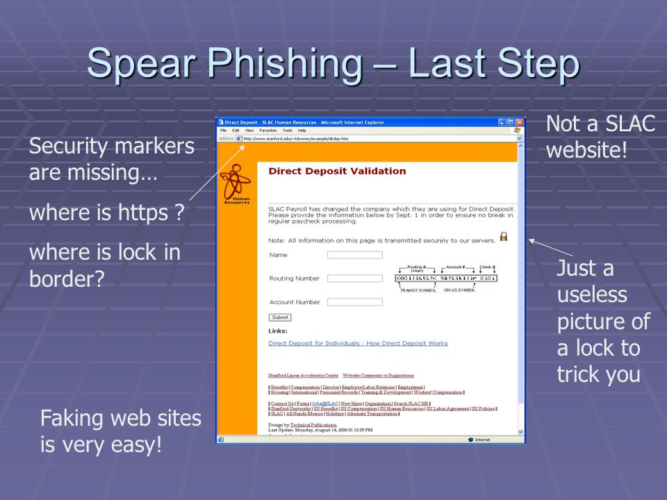 Spear Phishing – Last Step Security markers are missing… where is https .