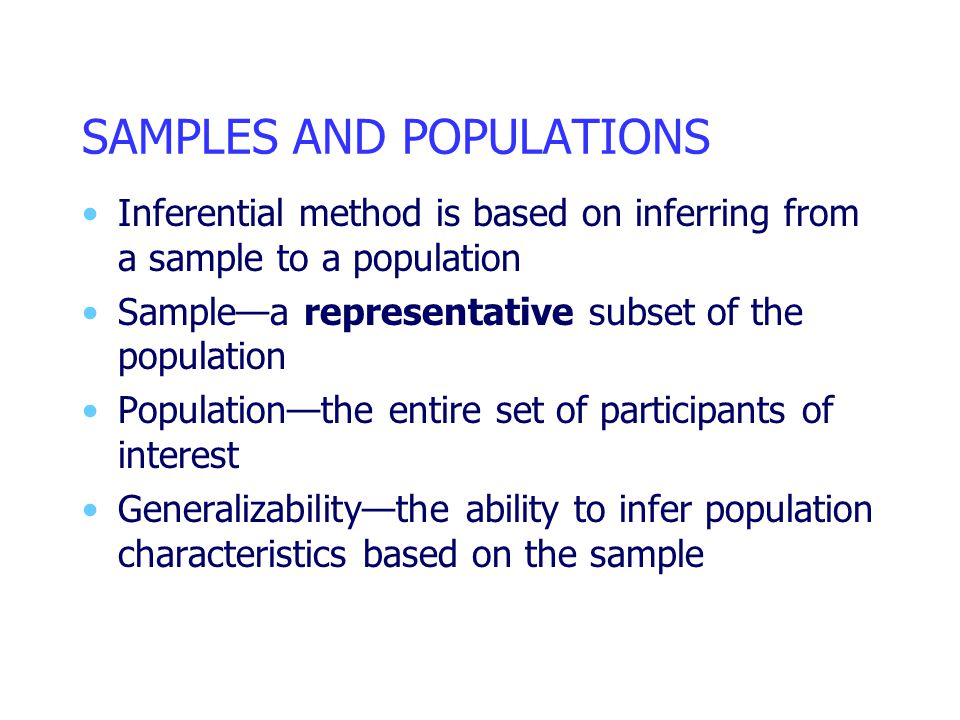 SAMPLES AND POPULATIONS Inferential method is based on inferring from a sample to a population Sample—a representative subset of the population Popula