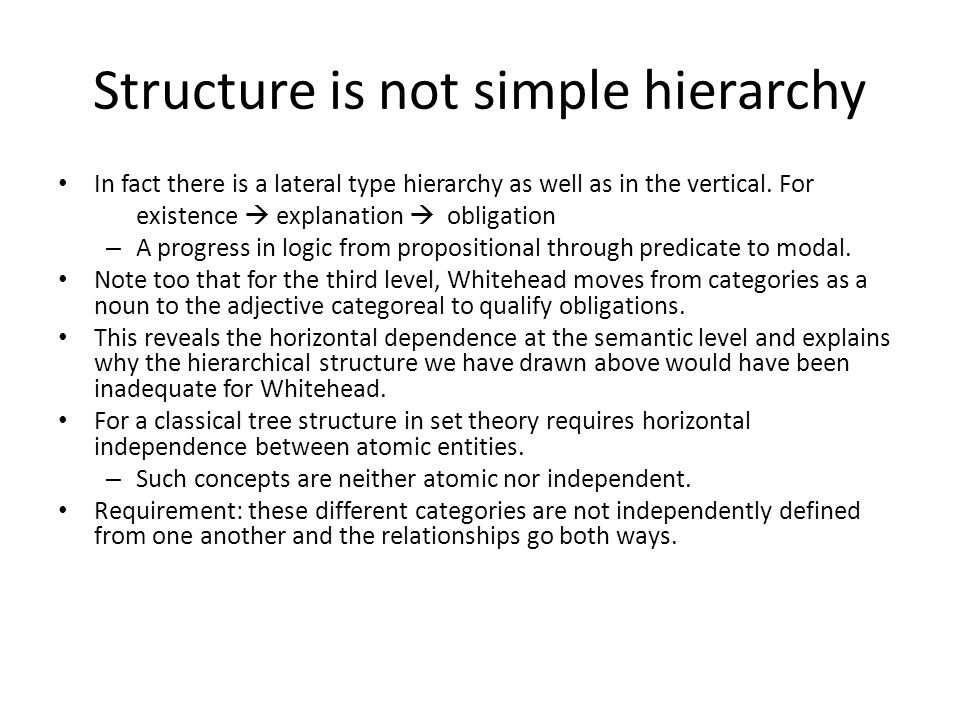 Structure is not simple hierarchy In fact there is a lateral type hierarchy as well as in the vertical. For existence  explanation  obligation – A p