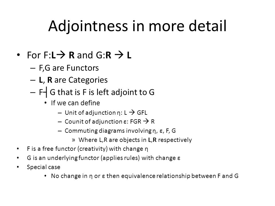 Adjointness in more detail For F:L  R and G:R  L – F,G are Functors – L, R are Categories – F ┤ G that is F is left adjoint to G If we can define –