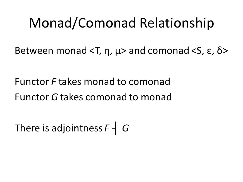 Monad/Comonad Relationship Between monad and comonad Functor F takes monad to comonad Functor G takes comonad to monad There is adjointness F ┤ G