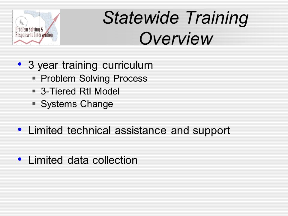 Statewide Training Overview 3 year training curriculum  Problem Solving Process  3-Tiered RtI Model  Systems Change Limited technical assistance and support Limited data collection