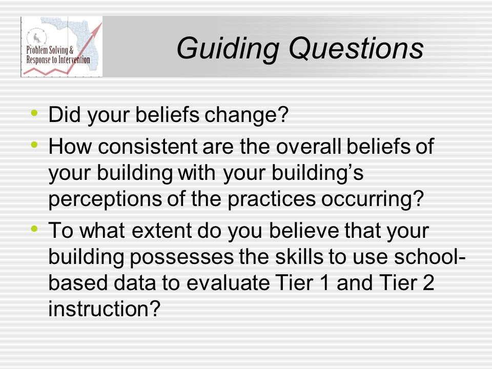 Guiding Questions Did your beliefs change? How consistent are the overall beliefs of your building with your building's perceptions of the practices o