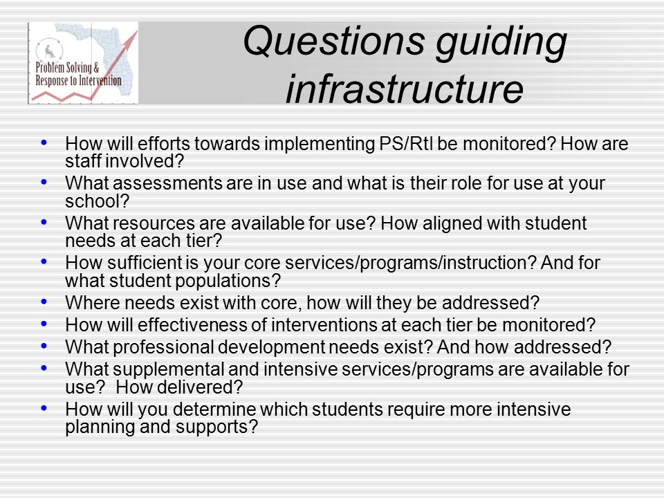 Questions guiding infrastructure How will efforts towards implementing PS/RtI be monitored.