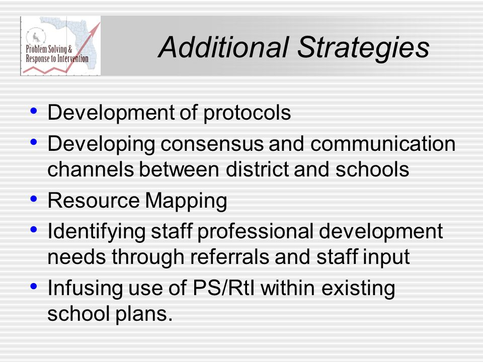 Additional Strategies Development of protocols Developing consensus and communication channels between district and schools Resource Mapping Identifyi