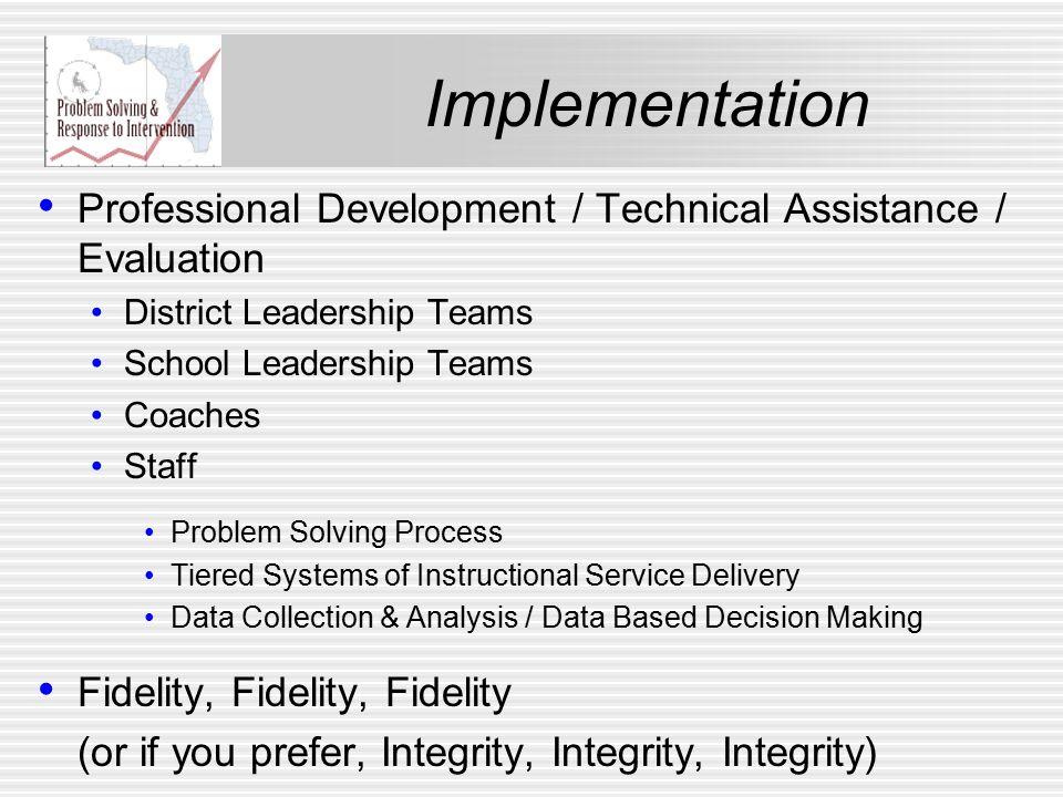 Professional Development / Technical Assistance / Evaluation District Leadership Teams School Leadership Teams Coaches Staff Problem Solving Process T