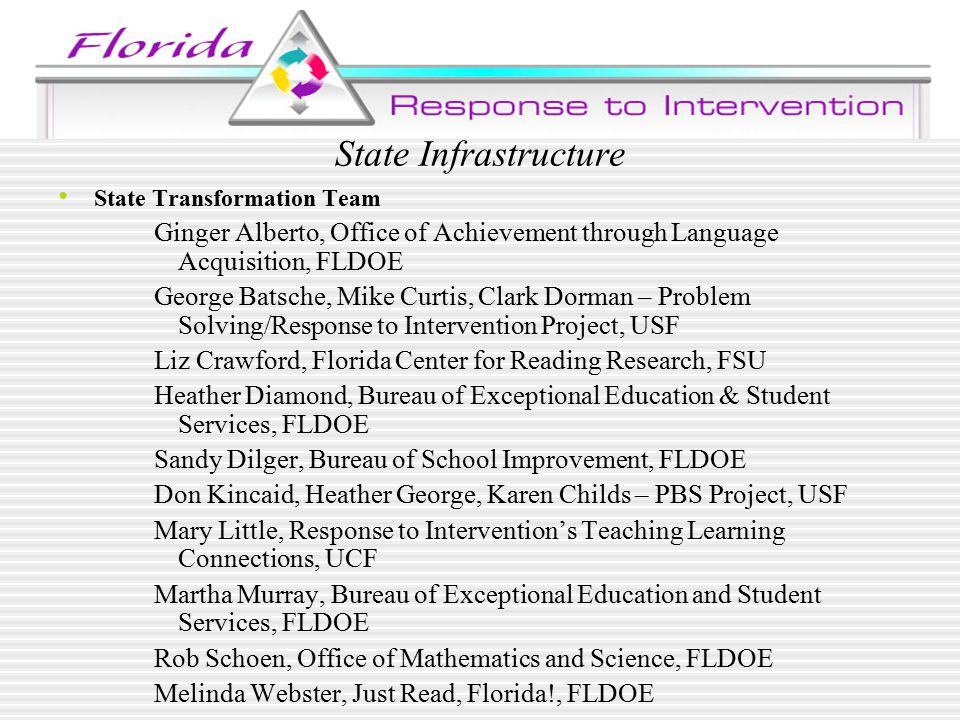 State Infrastructure State Transformation Team Ginger Alberto, Office of Achievement through Language Acquisition, FLDOE George Batsche, Mike Curtis, Clark Dorman – Problem Solving/Response to Intervention Project, USF Liz Crawford, Florida Center for Reading Research, FSU Heather Diamond, Bureau of Exceptional Education & Student Services, FLDOE Sandy Dilger, Bureau of School Improvement, FLDOE Don Kincaid, Heather George, Karen Childs – PBS Project, USF Mary Little, Response to Intervention's Teaching Learning Connections, UCF Martha Murray, Bureau of Exceptional Education and Student Services, FLDOE Rob Schoen, Office of Mathematics and Science, FLDOE Melinda Webster, Just Read, Florida!, FLDOE