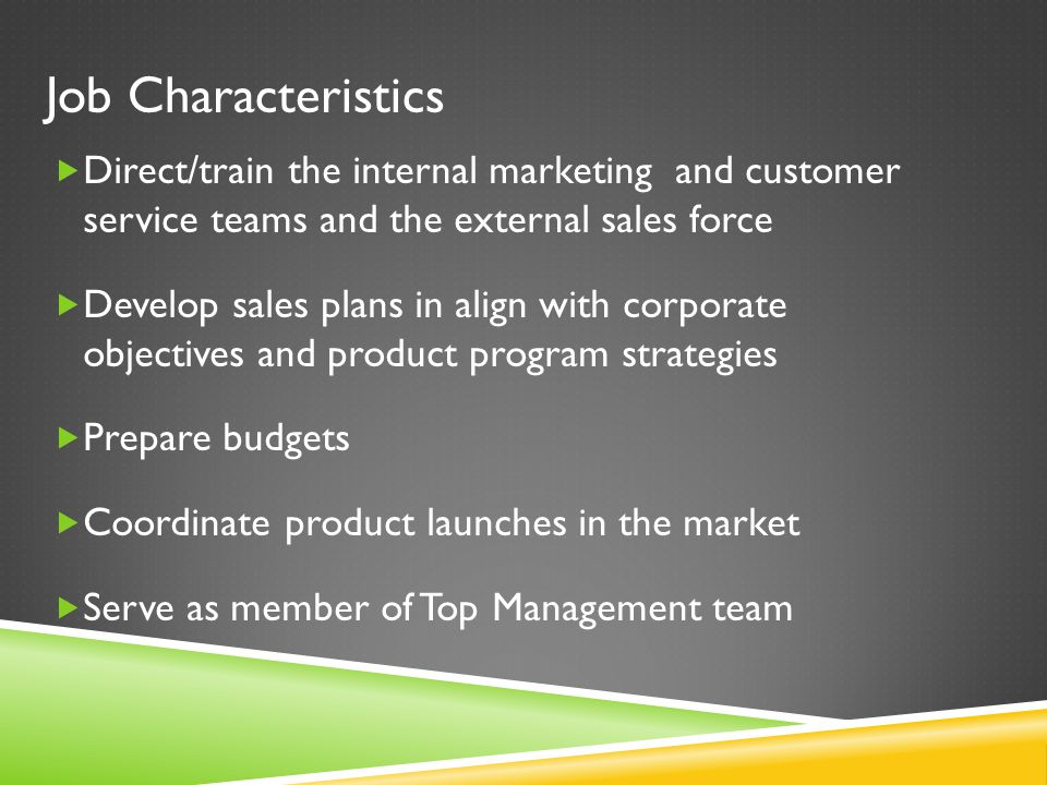  Direct/train the internal marketing and customer service teams and the external sales force  Develop sales plans in align with corporate objectives and product program strategies  Prepare budgets  Coordinate product launches in the market  Serve as member of Top Management team Job Characteristics