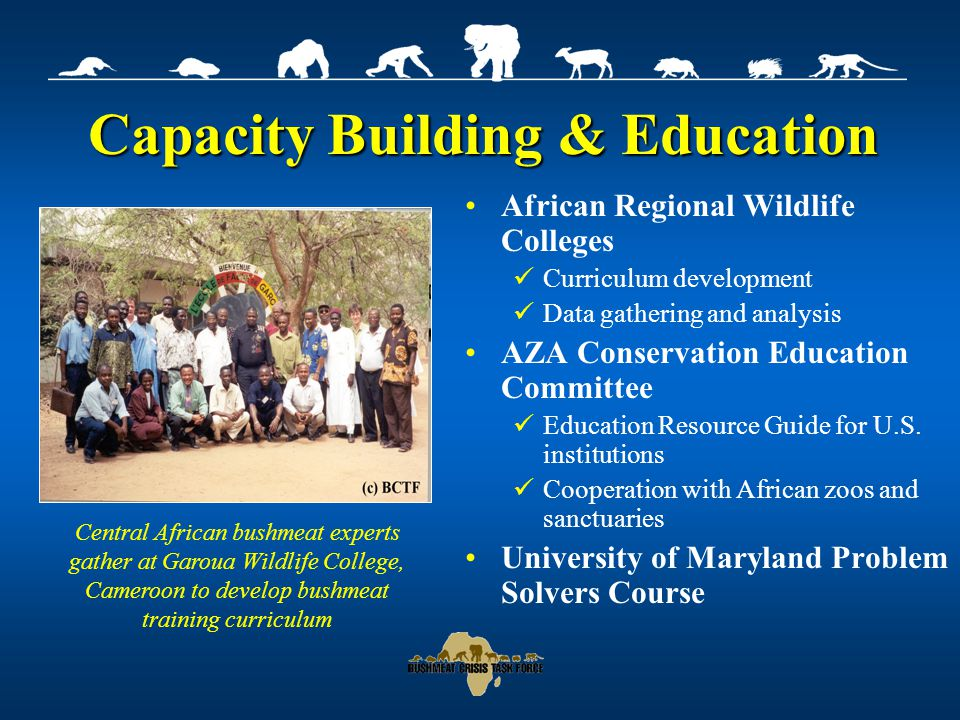 Capacity Building & Education African Regional Wildlife Colleges Curriculum development Data gathering and analysis AZA Conservation Education Committee Education Resource Guide for U.S.