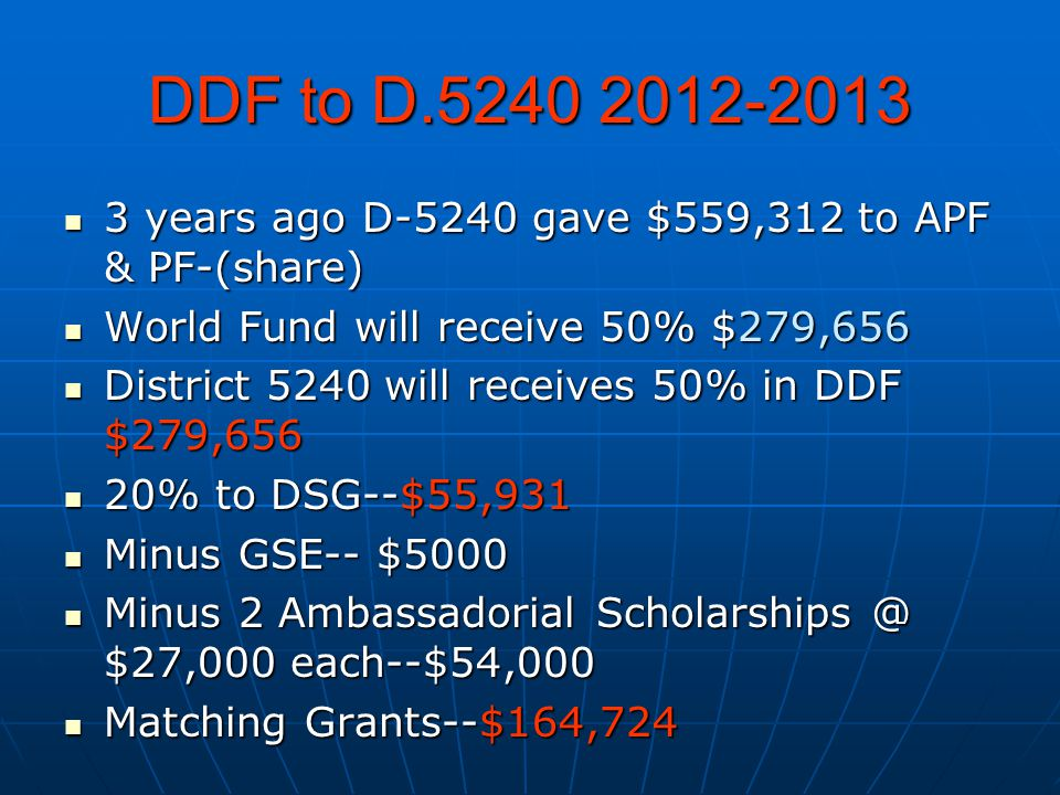 DDF to D.5240 2012-2013 3 years ago D-5240 gave $559,312 to APF & PF-(share) 3 years ago D-5240 gave $559,312 to APF & PF-(share) World Fund will rece