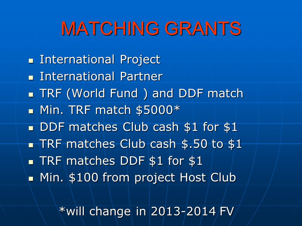 MATCHING GRANTS International Project International Project International Partner International Partner TRF (World Fund ) and DDF match TRF (World Fun