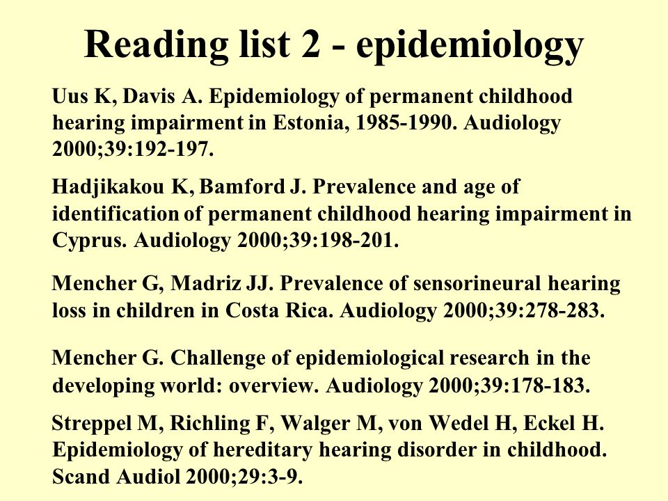 Reading list 2 - epidemiology Uus K, Davis A.