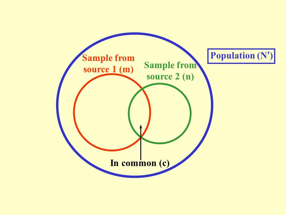 N = (m+1)(n+1) (c+1) - 1 95% c.i.