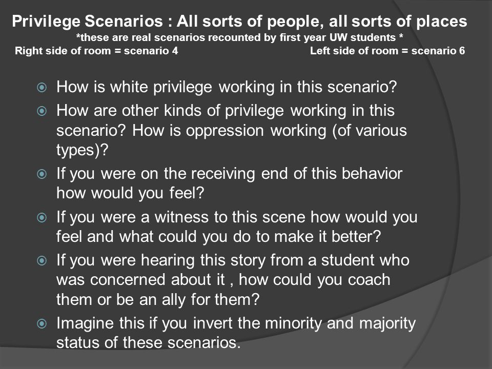  How is white privilege working in this scenario?  How are other kinds of privilege working in this scenario? How is oppression working (of various