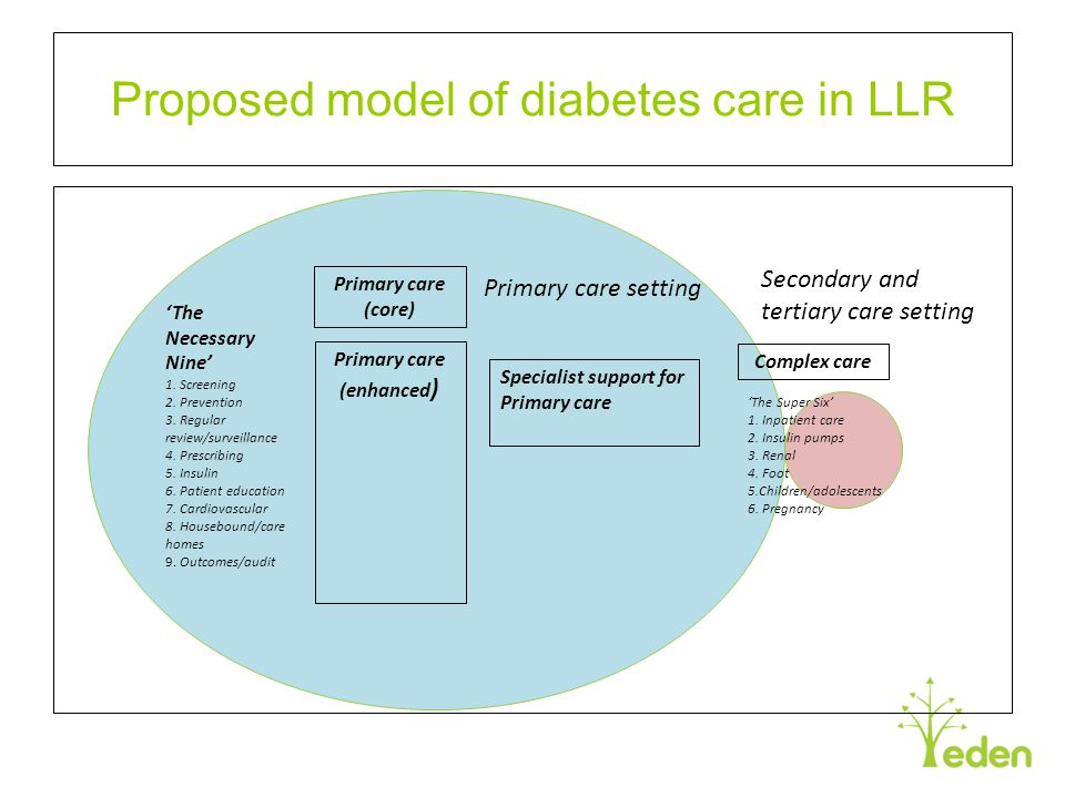 Proposed model of diabetes care in LLR Primary care (core) Primary care (enhanced ) Primary care setting Secondary and tertiary care setting 'The Supe