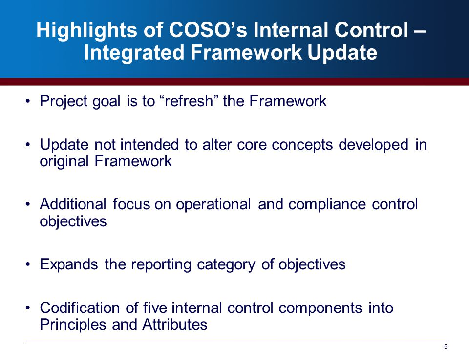 Highlights of COSO's Internal Control – Integrated Framework Update Project goal is to refresh the Framework Update not intended to alter core concepts developed in original Framework Additional focus on operational and compliance control objectives Expands the reporting category of objectives Codification of five internal control components into Principles and Attributes 5