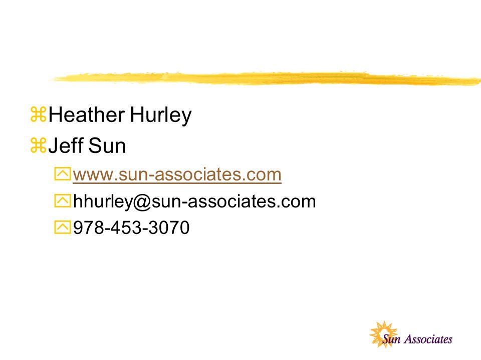 zHeather Hurley zJeff Sun ywww.sun-associates.comwww.sun-associates.com yhhurley@sun-associates.com y978-453-3070