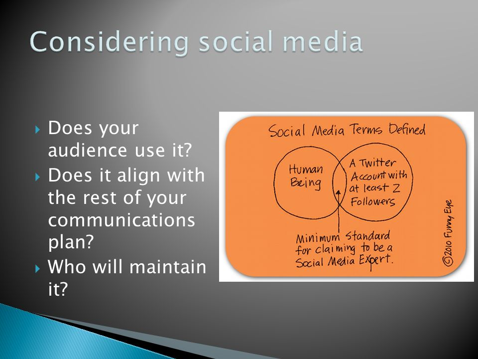  Does your audience use it.  Does it align with the rest of your communications plan.