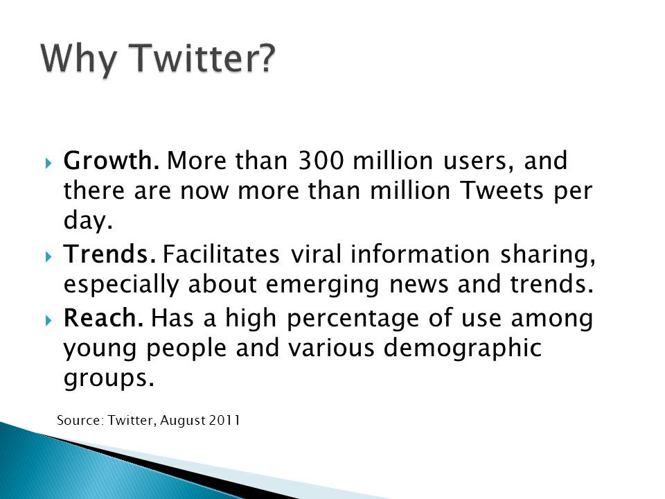  Growth. More than 300 million users, and there are now more than million Tweets per day.