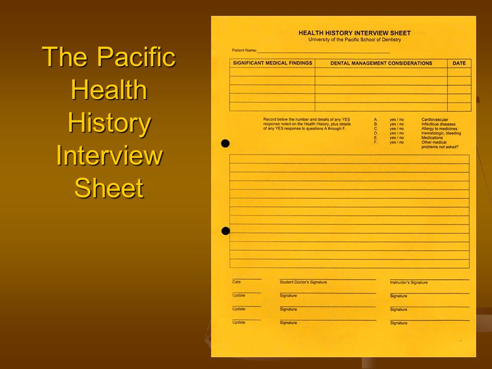 The Pacific Health History Interview Sheet The Pacific Health History Interview Sheet