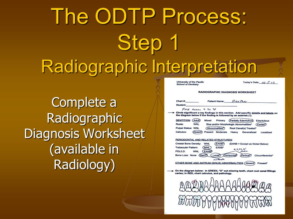 The ODTP Process: Step 1 Radiographic Interpretation Complete a Radiographic Diagnosis Worksheet (available in Radiology)