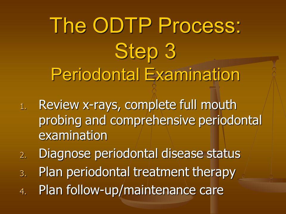 The ODTP Process: Step 3 Periodontal Examination 1.