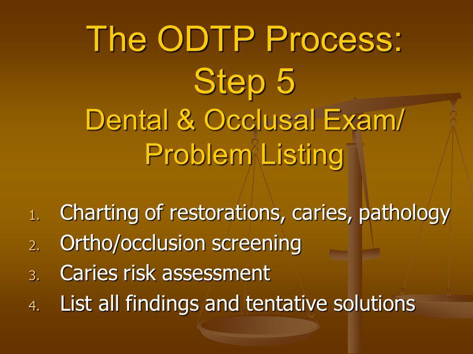 The ODTP Process: Step 5 Dental & Occlusal Exam/ Problem Listing 1.