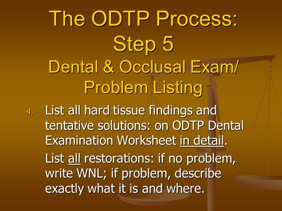 The ODTP Process: Step 5 Dental & Occlusal Exam/ Problem Listing 4.