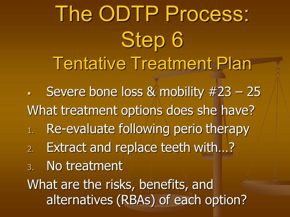 The ODTP Process: Step 6 Tentative Treatment Plan Severe bone loss & mobility #23 – 25 Severe bone loss & mobility #23 – 25 What treatment options doe