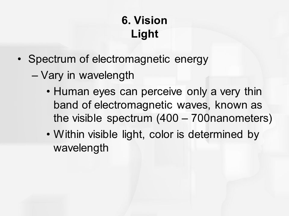 6. Vision Light Spectrum of electromagnetic energy –Vary in wavelength Human eyes can perceive only a very thin band of electromagnetic waves, known a