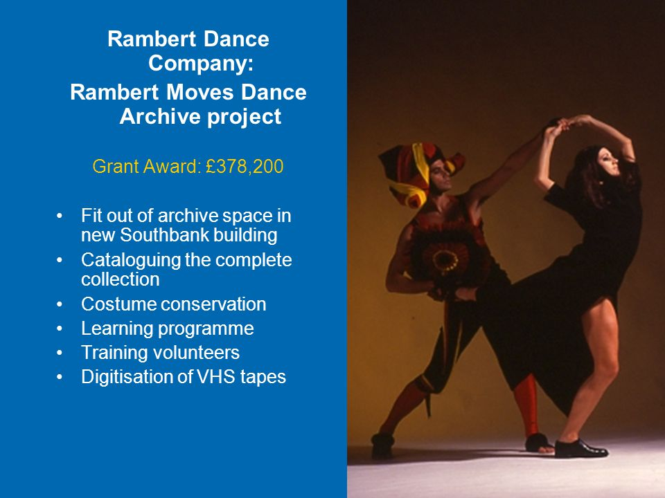 Rambert Dance Company: Rambert Moves Dance Archive project Grant Award: £378,200 Fit out of archive space in new Southbank building Cataloguing the complete collection Costume conservation Learning programme Training volunteers Digitisation of VHS tapes