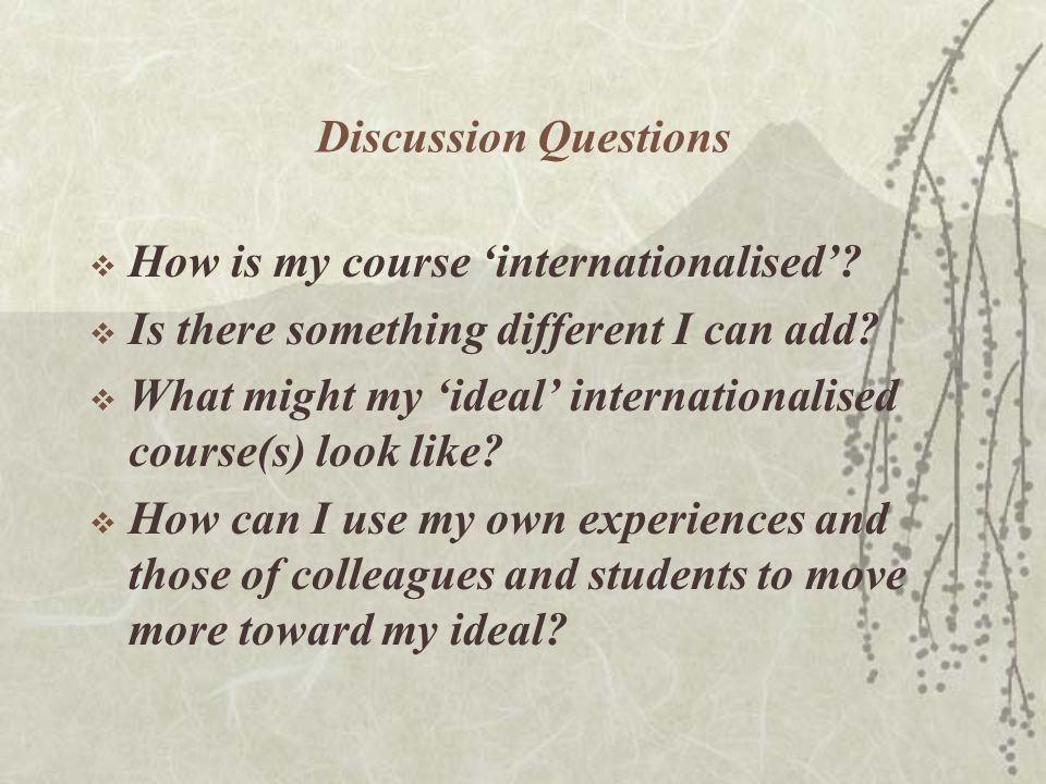 Discussion Questions  How is my course 'internationalised'.