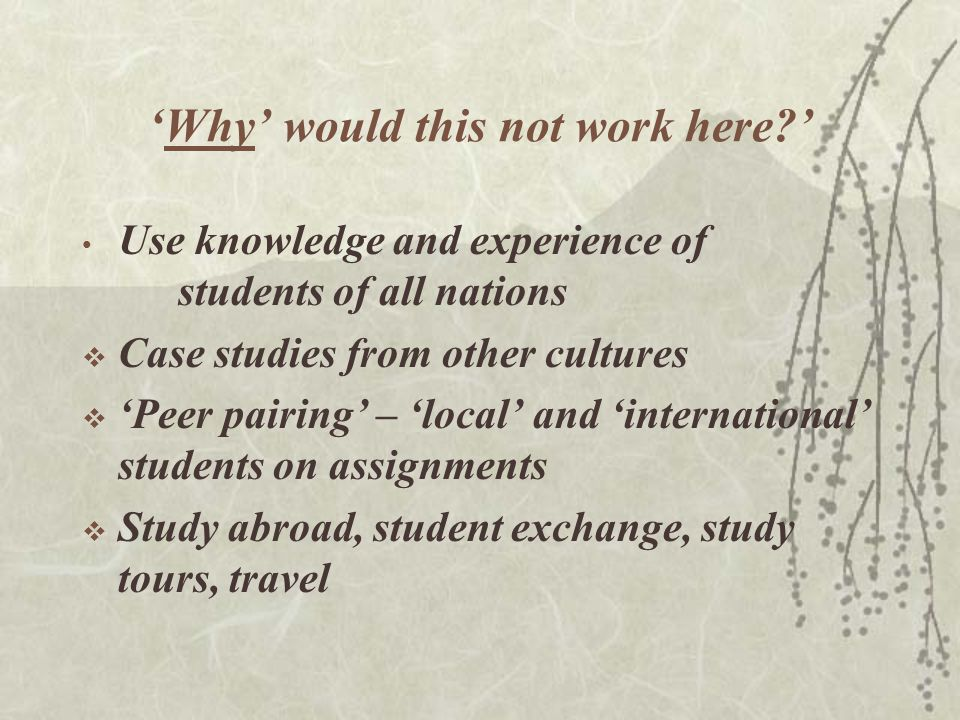 'Why' would this not work here?' Use knowledge and experience of students of all nations  Case studies from other cultures  'Peer pairing' – 'local' and 'international' students on assignments  Study abroad, student exchange, study tours, travel