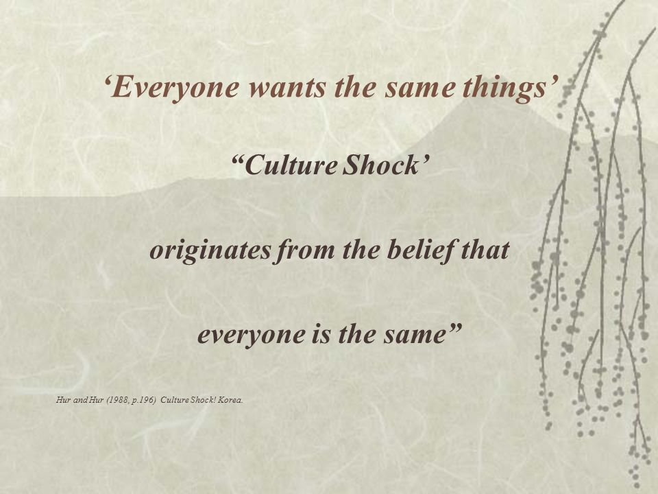 """'Everyone wants the same things' """"Culture Shock' originates from the belief that everyone is the same"""" Hur and Hur (1988, p.196) Culture Shock! Korea."""