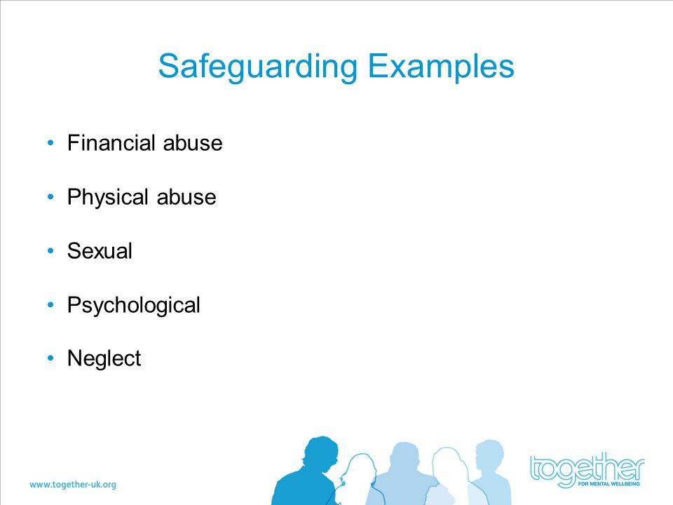 Safeguarding Examples Financial abuse Physical abuse Sexual Psychological Neglect