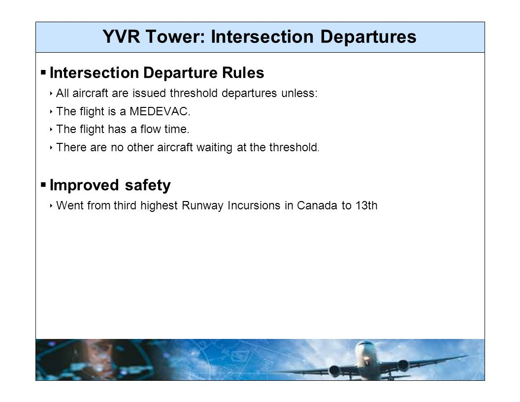 YVR Tower: Intersection Departures  Intersection Departure Rules  All aircraft are issued threshold departures unless:  The flight is a MEDEVAC.