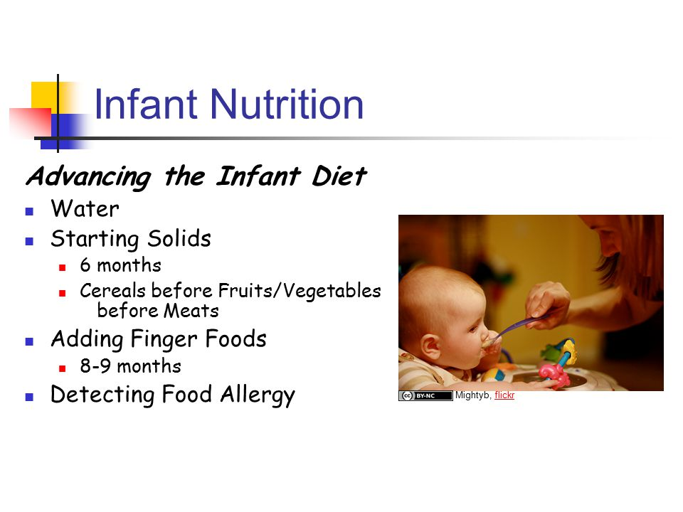Infant Nutrition Advancing the Infant Diet Water Starting Solids 6 months Cereals before Fruits/Vegetables before Meats Adding Finger Foods 8-9 months Detecting Food Allergy Mightyb, flickrflickr
